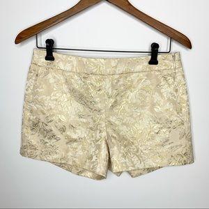 J. CREW Metallic Gold Foil Floral Mid-rise  Shorts